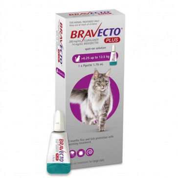 Bravecto Plus Cat Spot On Tick, Flea and Worm Treatment - 6.25-12.5kg