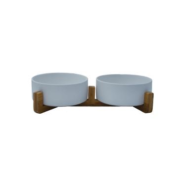 Urbanpaws Raised Double Ceramic Pet Bowl with Bamboo Stand - White