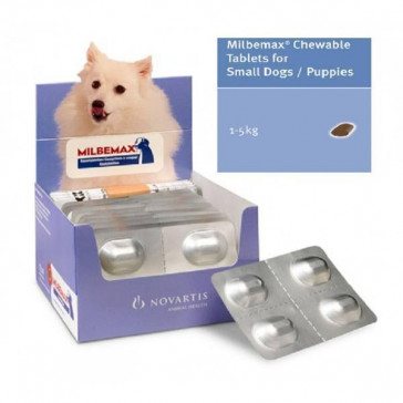 Milbemax Small Dog & Puppie 1-5kg Chewable Deworming Tablets