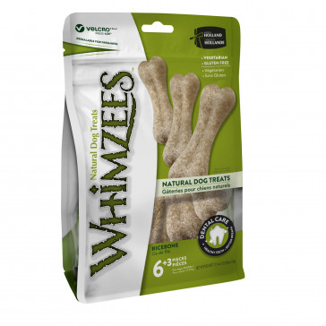 Whimzeez Rice Bone Daily Dental Dog Treat - Pack of 9