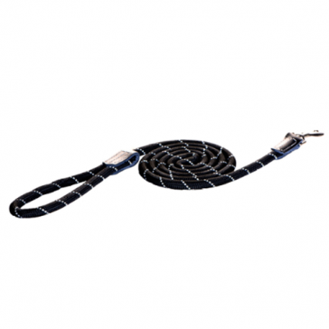 Rogz Rope Long Fixed Dog Lead-Black