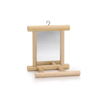 Beeztees Wooden Landing Perch & Mirror Bird Toy