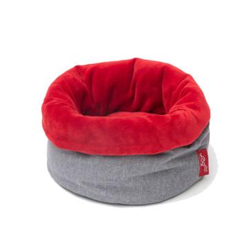 Wagworld Nap Sack Fleece Pet Bed - Grey & Red