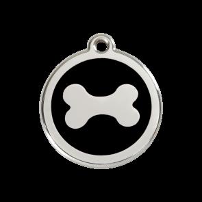 Red Dingo Personalised Stainless Steel Enamel Pet ID Tag - Bone Black