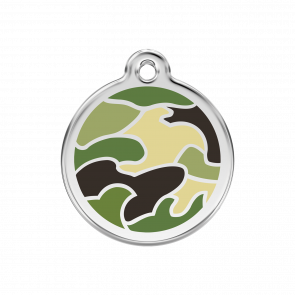 Red Dingo Personalised Stainless Steel Enamel Pet ID Tag - Camouflage Green