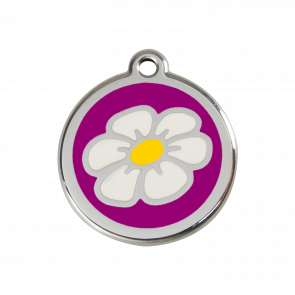 Red Dingo Personalised Stainless Steel Enamel Pet ID Tag - Daisy Flower