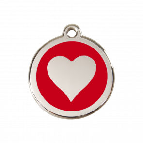 Red Dingo Personalised Stainless Steel Enamel Pet ID Tag - Red Heart
