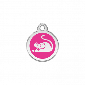Red Dingo Personalised Stainless Steel Enamel Cat ID Tag - Mouse Hot Pink