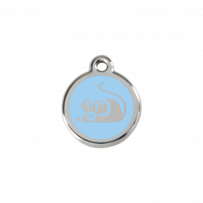 Red Dingo Personalised Stainless Steel Enamel Cat ID Tag - Mouse Light Blue