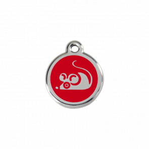 Red Dingo Personalised Stainless Steel Enamel Cat ID Tag - Mouse Red