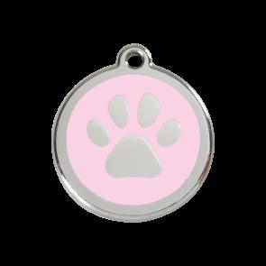 Red Dingo Personalised Stainless Steel Enamel Pet ID Tag - Pink Paw Print