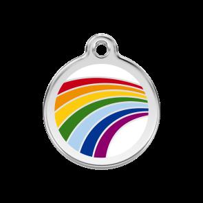 Red Dingo Personalised Stainless Steel Enamel Pet ID Tag - Rainbow