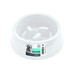 Anti-Scoff Melamine Dog Bowl-White