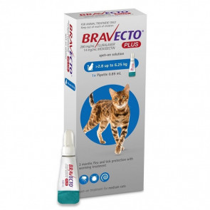 Bravecto Plus Cat Spot On Tick, Flea and Worm Treatment - 2.8-6.25kg