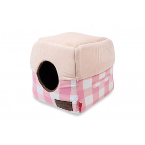 Cat's Life Cat Cube Cat Bed - Checkered Pink