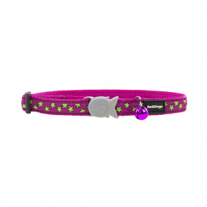Red Dingo Design Cat Collar - Stars Lime on Hot Pink