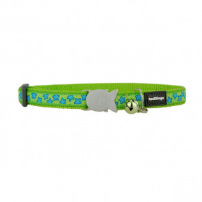 Red Dingo Design Cat Collar - Stars Turquoise on Lime Green