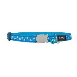 Red Dingo Design Cat Collar - Stars White on Turquoise