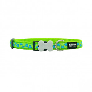 Red Dingo Design Dog Collar - Stars Turquoise on Lime Green
