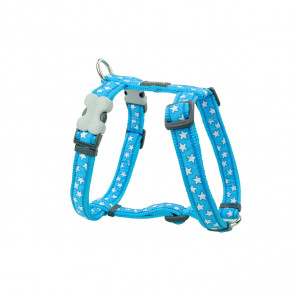 Red Dingo Design Dog H-Harness - Stars White on Turquoise