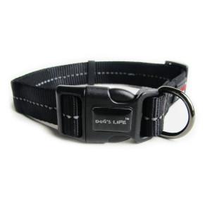 Dog's Life Reflective Supersoft Webbing Dog Collar-Black