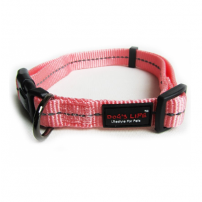 Dog's Life Reflective Supersoft Webbing Dog Collar-Pink