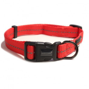 Dog's Life Reflective Supersoft Webbing Dog Collar-Red