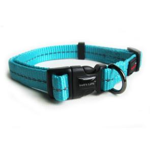 Dog's Life Reflective Supersoft Webbing Dog Collar-Turquoise