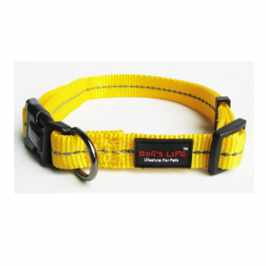 Dog's Life Reflective Supersoft Webbing Dog Collar-Yellow