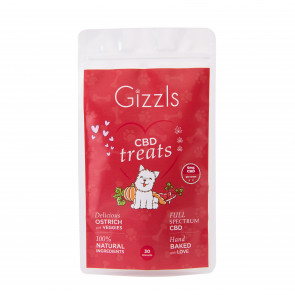 Gizzls Ostrich CBD Large Dog Treats