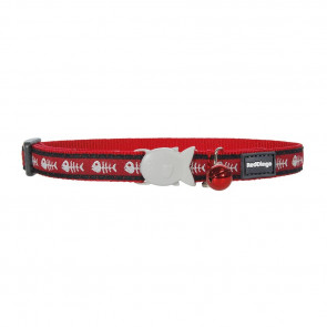 RedDingo Design Cat Collar-Fish Bone-Red