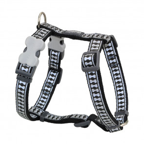 RedDingo Reflective Bones Dog H-Harness-Black