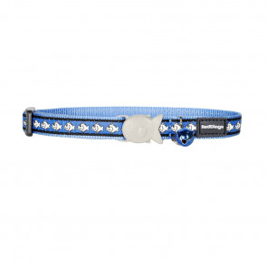 RedDingo Reflective Cat Collar-Fish-Med Blue