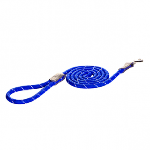 Rogz Rope Long Fixed Dog Lead-Blue