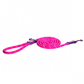 Rogz Rope Long Fixed Dog Lead-Pink