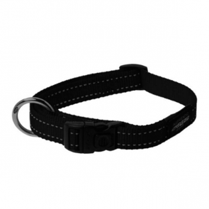 Rogz Utility Side Release Reflective Dog Collar-Black