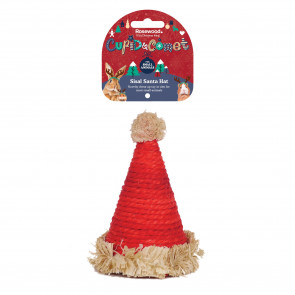 Rosewood Cupid & Comet's Sisal Santa Hat for Small Pets