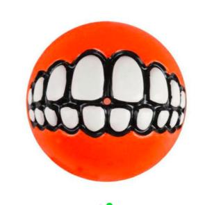 Rogz Grinz Ball Treat Dog Toy - Orange