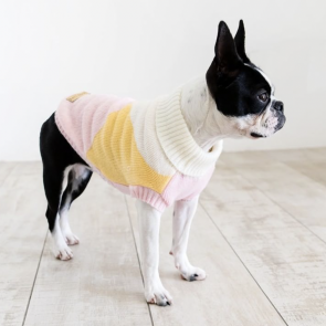 Dog's Life Geo Knit Polo Neck Dog Jersey - Pink