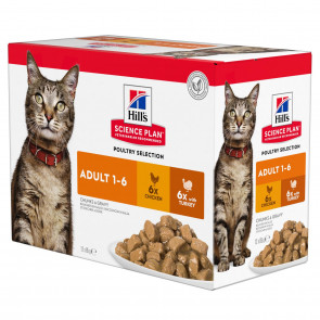 Hill's Science Plan Chicken & Turkey Adult Cat Food Pouches